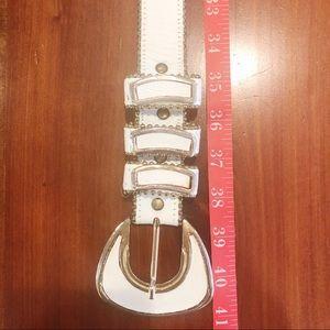 Cache Accessories - Vintage Cache White Leather Rhinestone Belt  A112